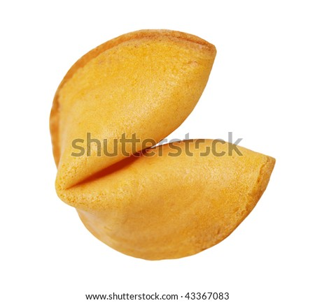 Single fortune cookie isolated on white background