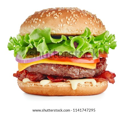 single fresh burger with beef, cheese, bacon and vegetables isolated on white background