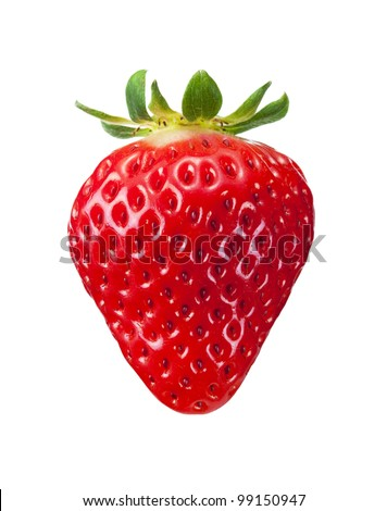 single fresh red strawberry isolated on white background