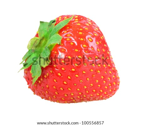 Single fresh red strawberry. Isolated on white background. Close-up. Studio photography.