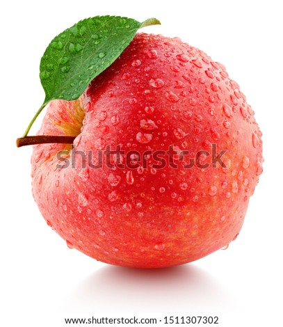 Single fresh wet red apple with leaf and drops isolated on white background. Red apple with clipping path. Full Depth of Field