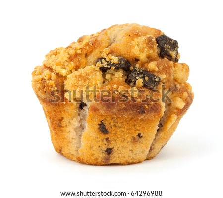 Single freshly baked raspberry chocolate chip muffin on a white background.