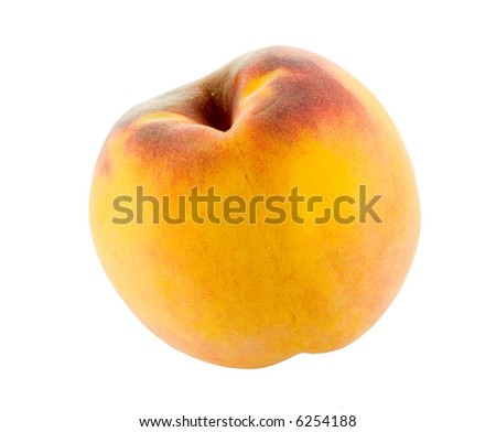single full peach isolated on white background