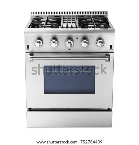 Single Gas Range Cooker with Warming Drawer Isolated on White Background. Steam Fuel Range with a Large-Capacity Convection Oven and Four-Burner Cooktop. Front View of Stainless Steel Gas-Stove.