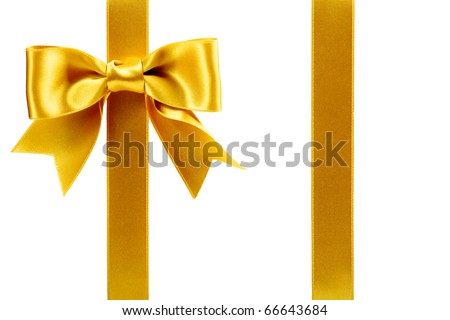 single gift bow, golden satin, with two ribbons isolated on white
