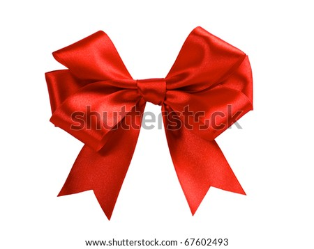 single gift bow, red satin, isolated on white