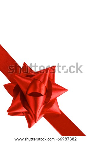 single gift bow, red satin, with one oblique ribbon isolated on white