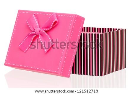 Single gift box isolated on white background