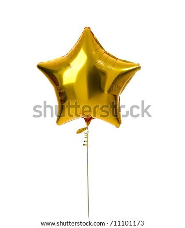 Single gold big star metallic balloon object for birthday isolated on a white background