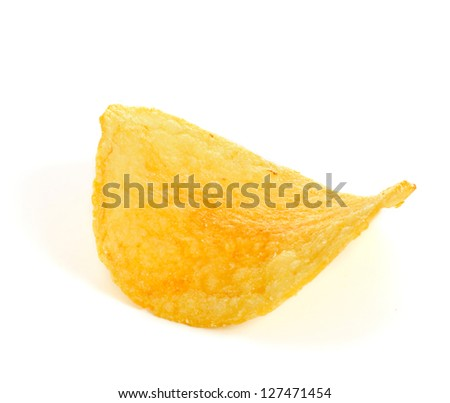 Single golden chips isolated on white, macro