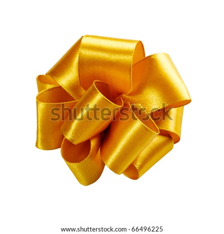 single golden ribbon gift bow isolated on white