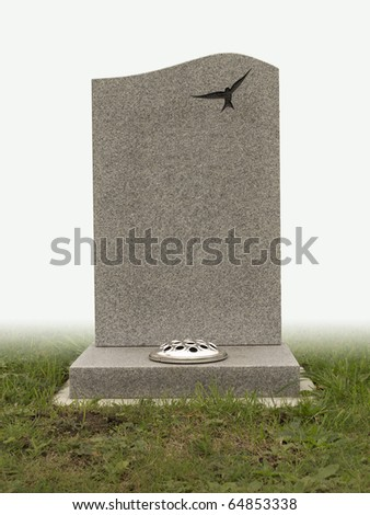 single grave stone on white back ground cut out