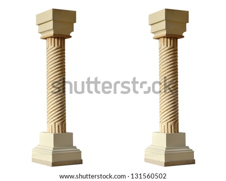 Single greek column isolated on white
