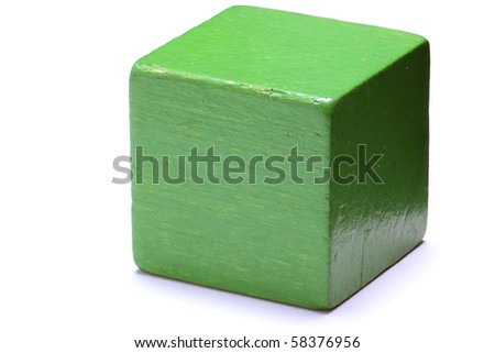 Single green cube isolated on white background.