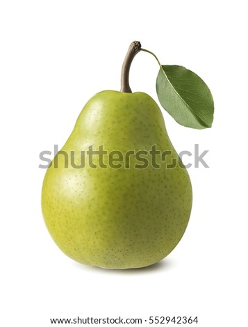 Single green pear isolated on white background as package design element