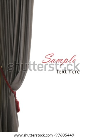 Single grey curtain with red buckle, white background, sample text, like an opera stage