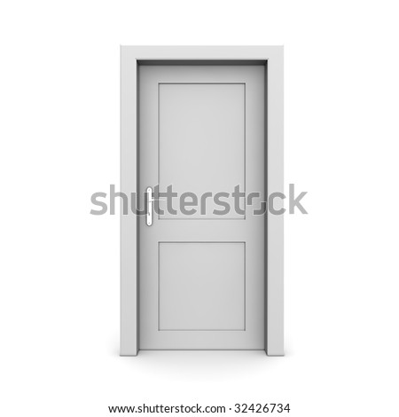 single grey door closed - door frame only, no walls - stock photo