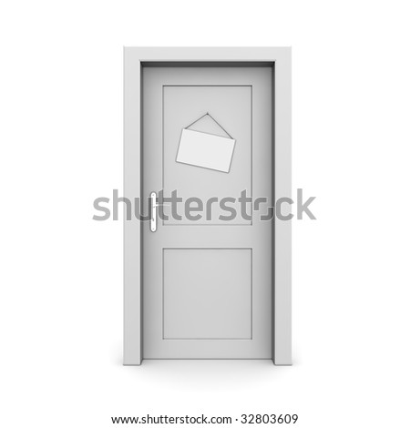 single grey door closed with door sign dummy