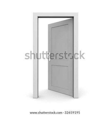 single grey door open - door frame only, no walls