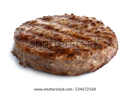 Single grilled hamburger patty isolated on white.