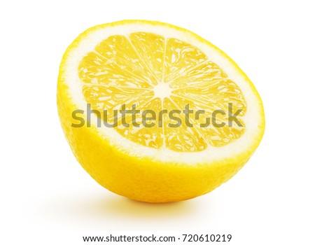 Single half lemon citrus fruit isolated on white background