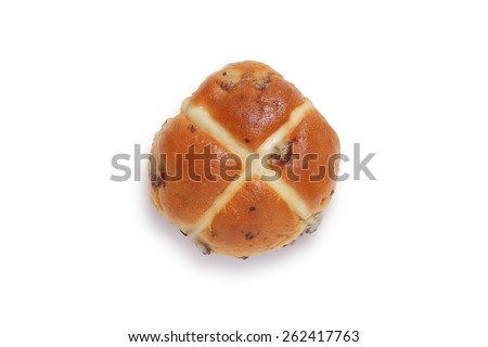 Single hot cross bun shot from above isolated on white background with clipping path #262417763