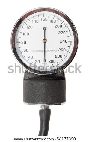 Single indicator for retro sphygmomanometer. Isolated on white background. Close-up. Studio photography.
