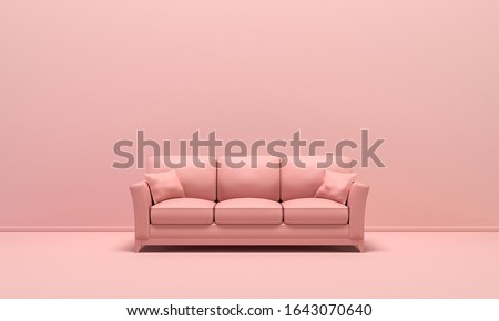 Single isolated  couch, seat, sofabed in flat monochrome pink color background, single color composition, 3d Rendering for web page, presentation and picture frame backgrounds.