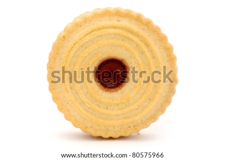 Single jam filled biscuit isolated on white