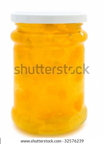single jar with yellow jam against the white background