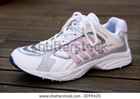 Single ladies running shoe or sneaker with laces tied