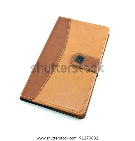 single leather notebook isolated on white background