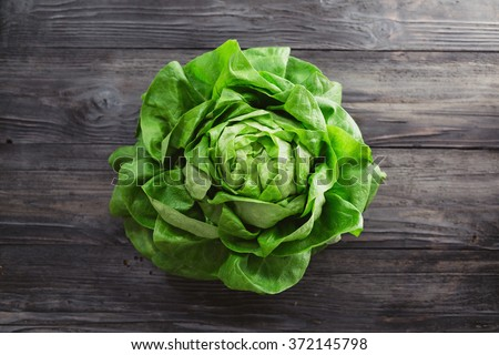 Single lettuce head over rustic wooden background