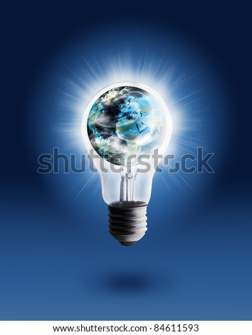 Single light bulb with globe