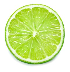 single lime slice isolated on white background