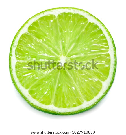 single lime slice isolated on white background #1027910830