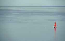 Single lonely yacht ship boat with red scarlet orange sail in lake sea calm water . High quality photo
