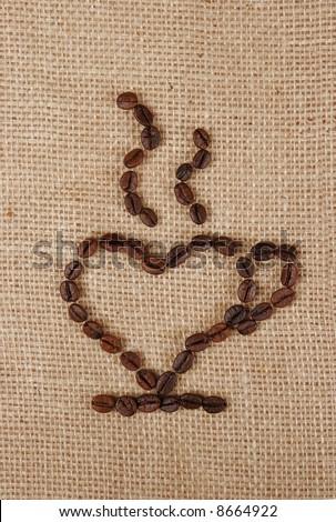 Single Love Coffee Cups hearts on a burlap fabric