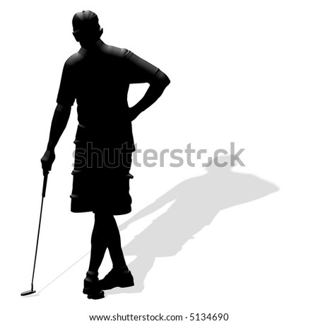 Single male golfer in silhouetted relief.Background is on a work path - stock photo