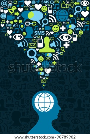 Single man figure conceptual social media communication splash with icon set illustration.
