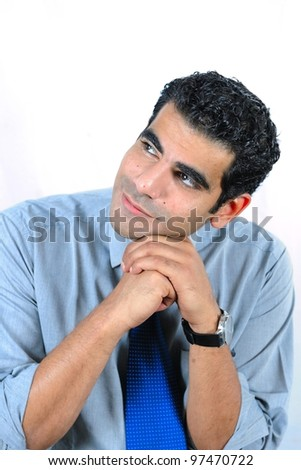 Single man thinking - stock photo