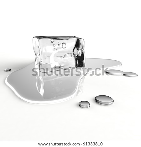 Single melting ice cube with water puddle on a white reflecting table