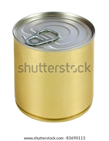 Single metal can isolated on white background