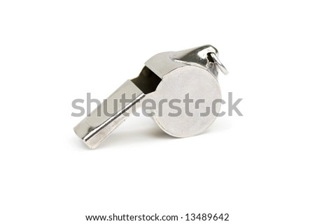 Single metal whistle. Isolated on white