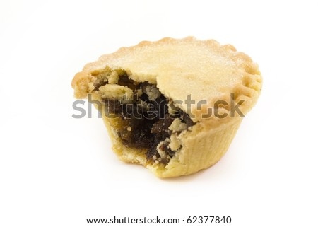 single mince pie with a missing bite