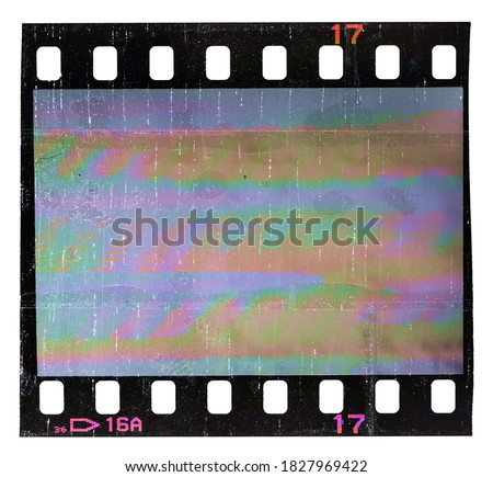 Photo of  single 35mm film strip with empty frame isolated on white with cool scanning light interferences, retro photo placeholder for your social media posting.