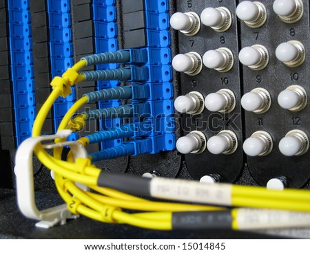 Single-Mode Fiber Optic Cables in a Data Center Patch Panel