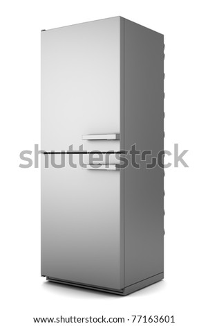 single modern gray refrigerator isolated on white background - stock photo
