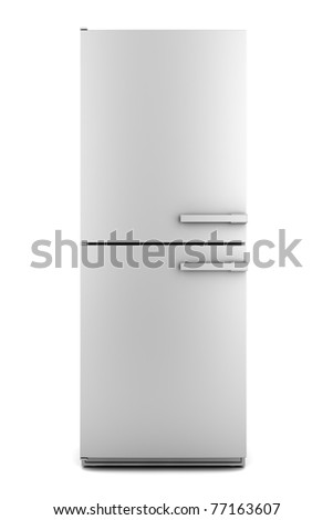 single modern gray refrigerator isolated on white background