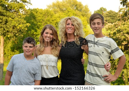 single mom with her kids